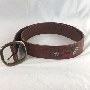 Free People floral painted leather belt s/m new